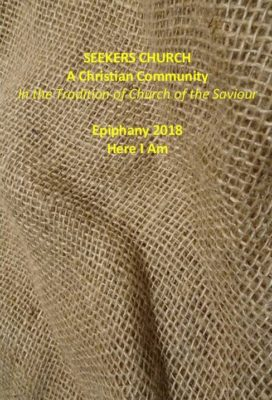 2018 Bulletin cover for Epiphany with photo of burlap and yellow lettering