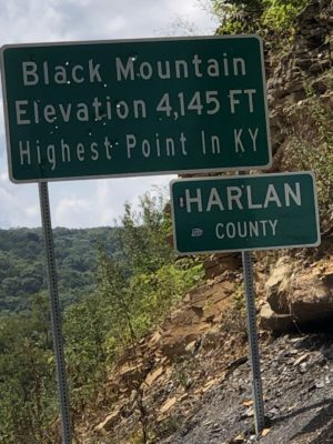 """sign saying """"Black Mountain, Elevation 4,145 FT. Highest Point in KY"""""""" Harlan County, KY is the next county over from Wise"""