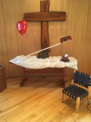 "2018 Eastertide altar, ""For the Love of God"""