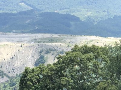 Open pit mine seen from above